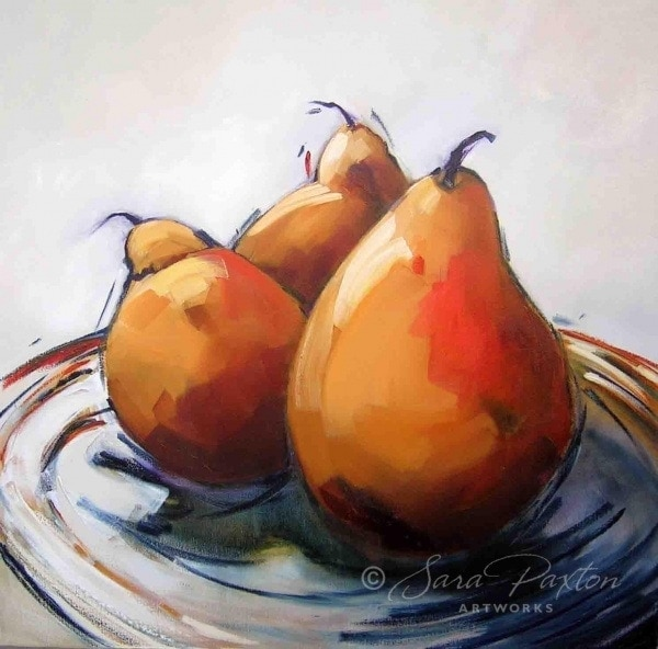Pears on a plate 92x92cm SP