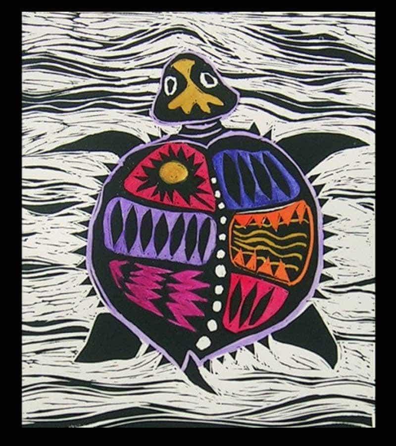 Sara Paxton Artworks-Purple Turtle 20x30cm