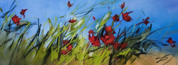 Poppies in the Breeze - 160x60