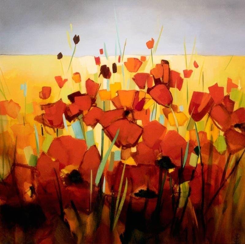 Poppy Landscape - 92x92cm