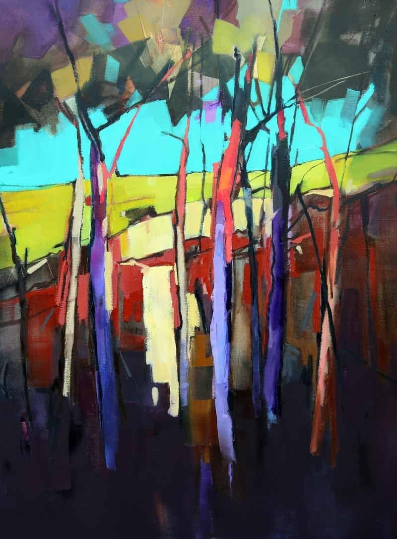 Tree Trunks in Colour-90x120cm
