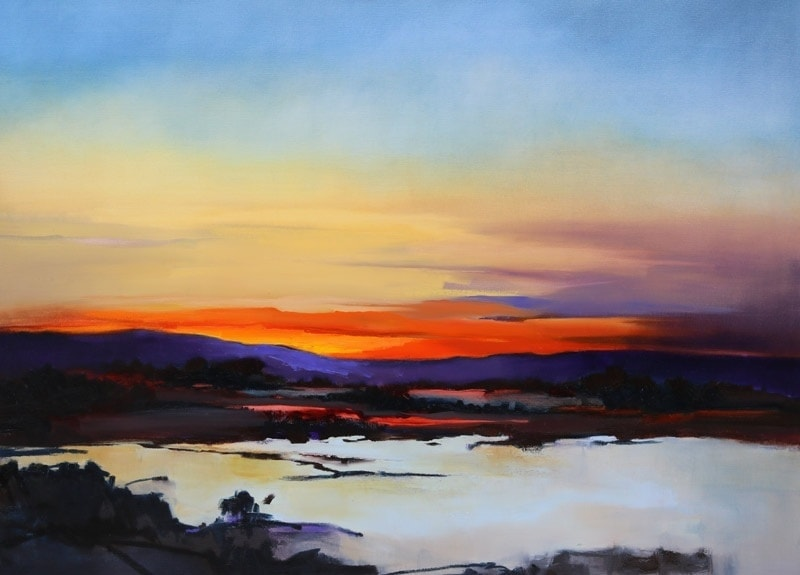 Sunset on Lake -120x90cm