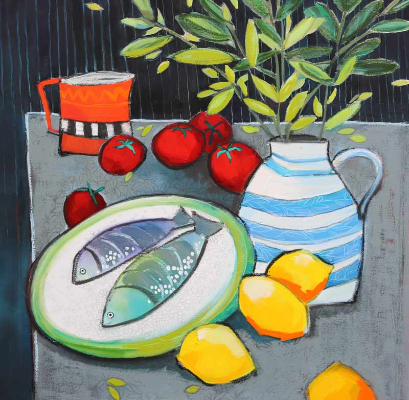 Two Fish - 76x76cm