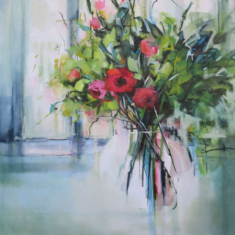 Roses in Window - Sara Paxton Artworks