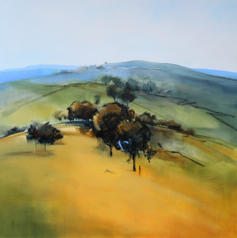 Hill Top Trees 106x106cm Oils on Canvas by Sara Paxton