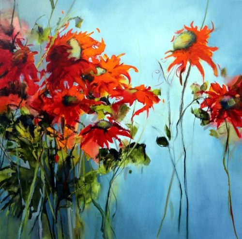 Perfect Sunflowers 106x106cm Sara Paxton Artworks