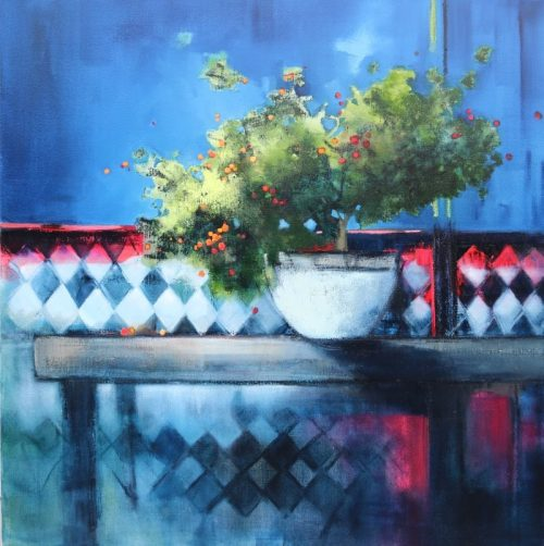 Red Berries 92x92cm Sara Paxton Artworks
