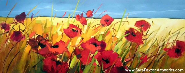 Parading Poppies-160x60cm - Seaview gallery Queenscliff exhibition