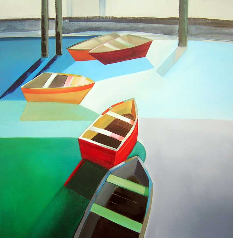 Sara Paxton Artworks-Five Boats-92x92cm