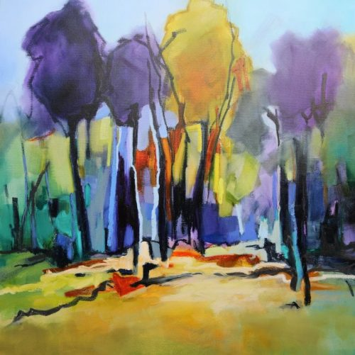 Trees in Colour 106x106cm by Sara Paxton Artworks