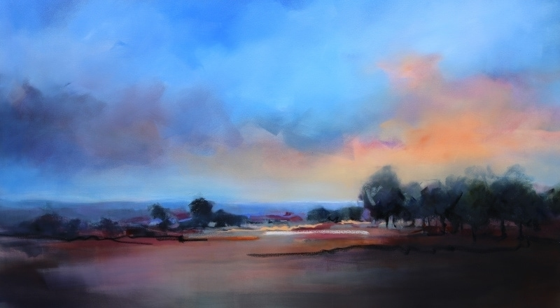 Evening landscape 180x100cm