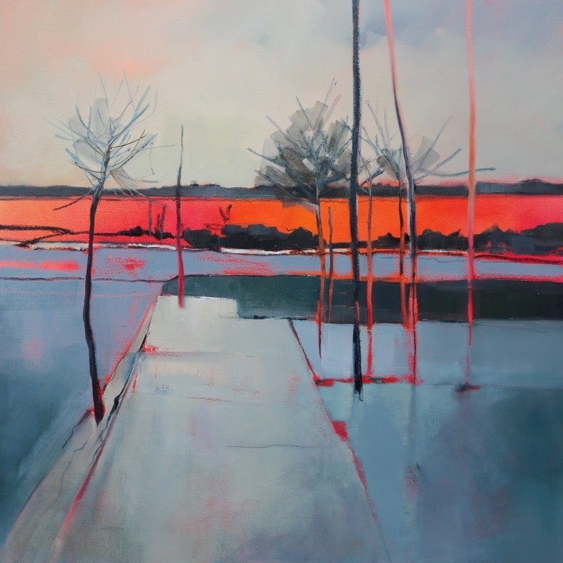 Orange Line 92x92cm by Sara Paxton