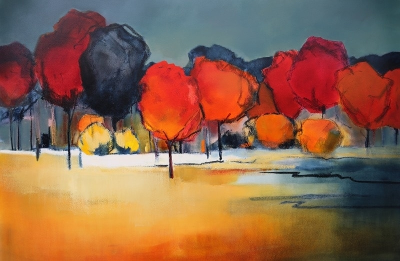 Treescape in Autumn 150x100cm by Sara Paxton