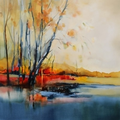 Autumn Riverbank 106x106cm by Sara Paxton